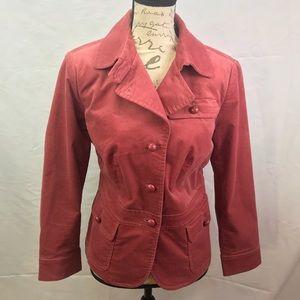 Talbots Terra-Cotta Red Velvet Blazer Jacket 12WP